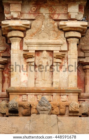 Ancient stone sculpture in the Shiva Temple in Gangaikonda Cholapuram, Tamil Nadu,India.The temple is one of the UNESCO world heritage sites.