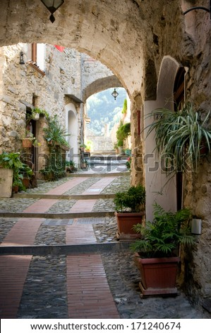 ancient stone street in Liguria, Italy