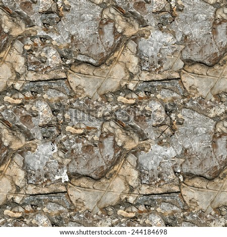 ancient stone wall, seamless pattern - stock photo