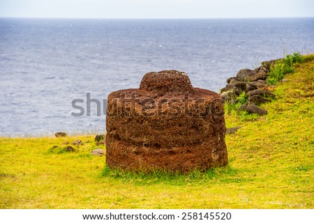 Ancient stones and nature of the Easter Island - stock photo