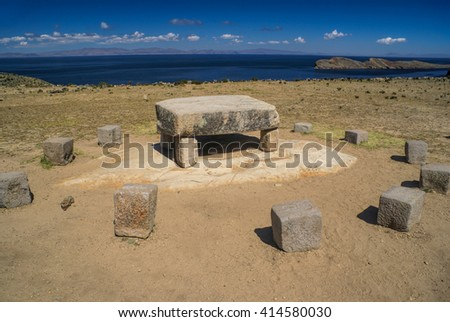 Ancient stones on Isla del Sol, island on lake Titicaca in Bolivia - stock photo