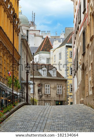 Ancient Street in the city center of Vienna. Austria