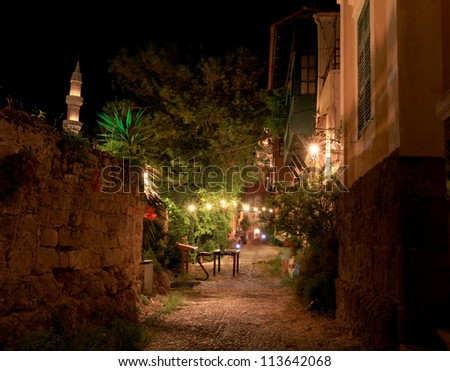 Ancient Streets in Rhodes Greece - stock photo