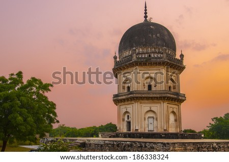 ancient structures built by the muslim kings of hyderabad, India - stock photo