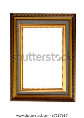 ancient style golden wood photo image frame isolated - stock photo