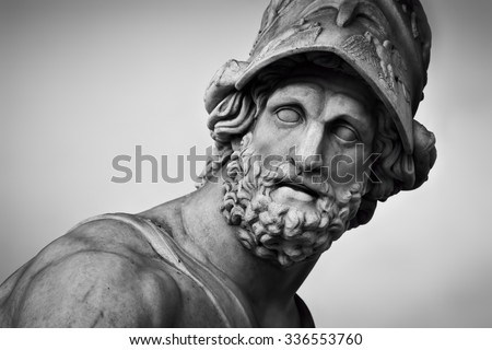 Ancient style sculpture of Menelaus supporting the body of Patroclus in Loggia dei Lanzi in Florence, Italy. Black and white, head close-up - stock photo
