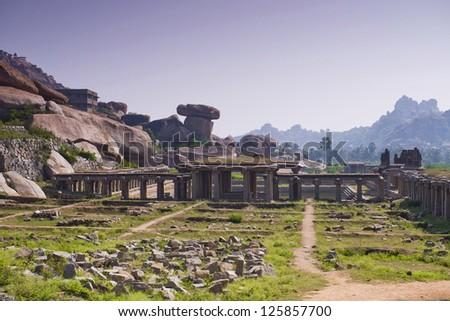 Ancient  temple at Krishna market, Hampi, Karnataka state, India - stock photo