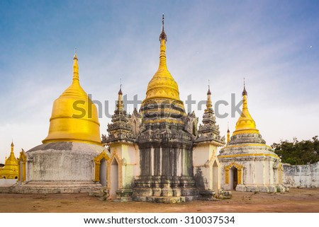 Ancient temple close to Pindaya Cave located next to the town of Pindaya, Shan State, Burma, Myanmar,  Famous buddhist pilgrimage site and a tourist attraction. - stock photo