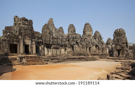 Ancient temple in angkor thom, Siemriep, Cambodia. Angkor Thom and angkor Wat is the score tourist row the first on the world. - stock photo