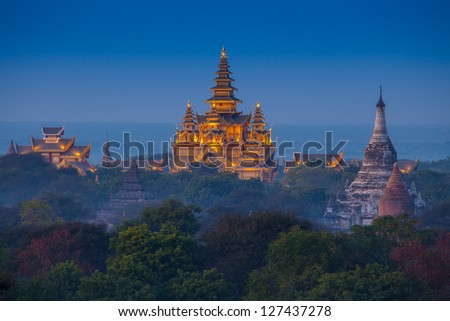 ancient temple in Bagan after sunset , Myanmar - stock photo