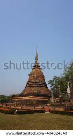 ancient temple in historical park of sukhothai