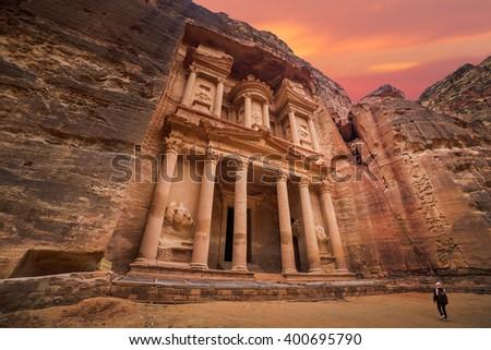 Ancient temple in Petra, Jordan - stock photo