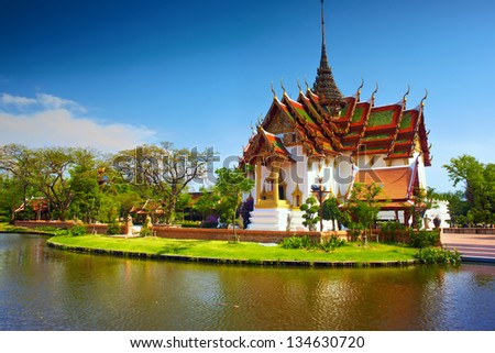 Ancient temple in Thailand in sunny day