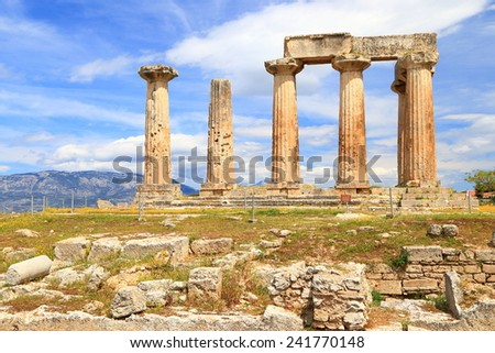 Ancient temple of Apollo on top of a hill, Corinth, Greece