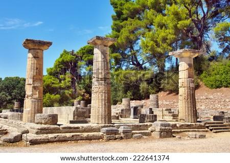 Ancient Temple of Goddess Hera, Olympia. - stock photo