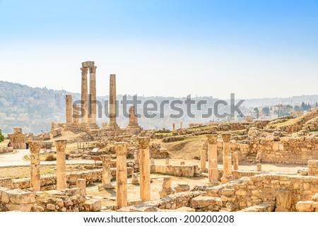 Ancient Temple of Hercules on the Citadel Mountain in Amman, Jordan.  It is known as Amman Citadel. - stock photo