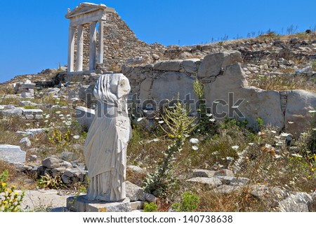 Ancient temple of Isis at Delos island in Greece - stock photo