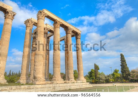 ancient Temple of Olympian Zeus , Athens, Greece - stock photo