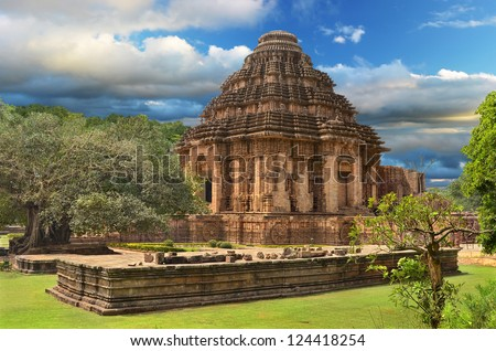 Ancient temple of the Sun God in Konark, Orissa, India. General view of temple - stock photo