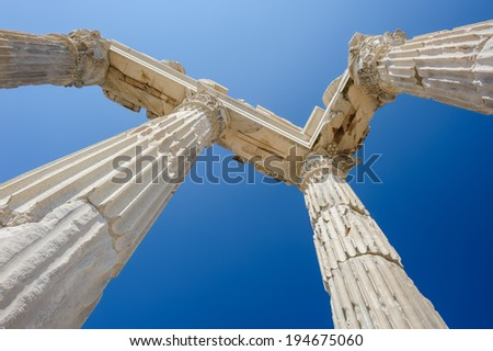 Ancient temple of Trajan, Bergama, Turkey - stock photo