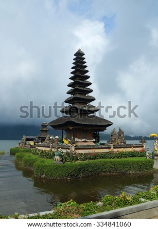 Ancient temple on coast of island Bali - stock photo
