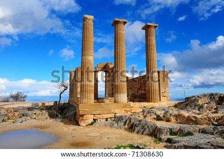 Ancient Temple on The Beach of The Greek Island of Rhodes - stock photo