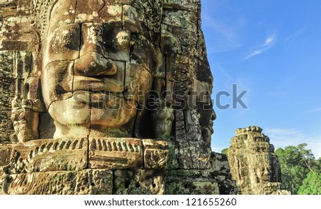 Ancient temple Prasat Bayon in Angkor complex, Siem Reap, Cambodia - stock photo