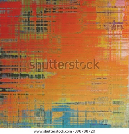 Ancient texture or damaged old style background with vintage grungy design elements and different color patterns: yellow (beige); green; blue; red (orange); pink - stock photo