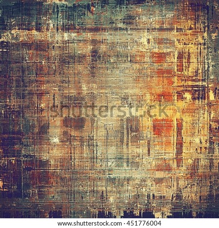 Ancient texture or damaged old style background with vintage grungy design elements and different color patterns: yellow (beige); brown; gray; blue; red (orange); purple (violet) - stock photo