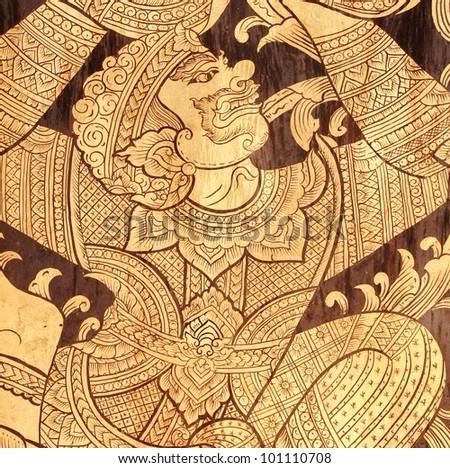 Ancient Thai art of hanuman-monkey , temple wall - stock photo