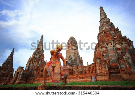 Ancient Thai art of Surakarn-monkey in old temple - stock photo