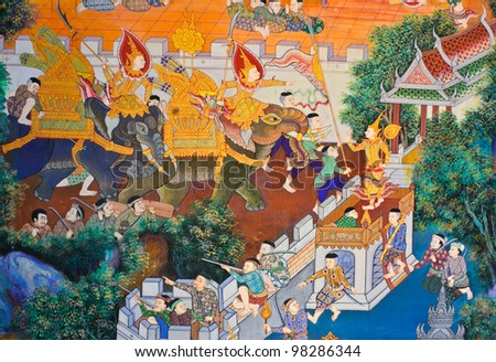 Ancient Thai mural on Buddhist temple wall, Thailand - stock photo