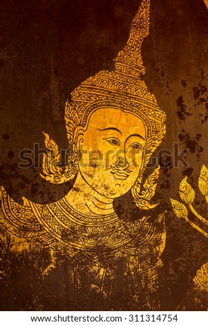 ancient thai painting located at thai temple public place