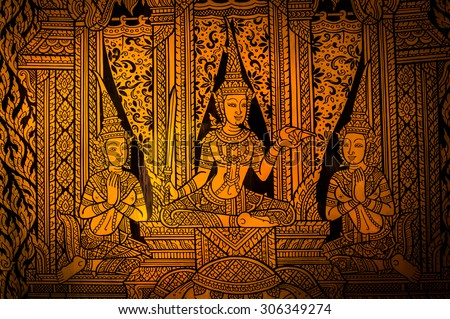 Buddha painting stock images royalty free images vectors ancient thai painting on wall in thailand buddha temple sciox Image collections