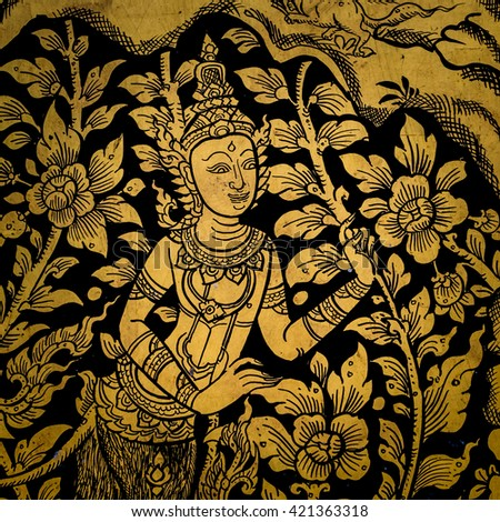 ancient thai painting on wall in thailand buddha temple - stock photo