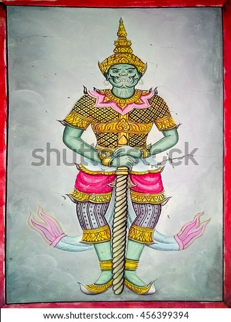 Ancient thai  painting Ramayana  - stock photo