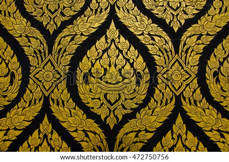 Ancient Thai Traditional Art Golden Flower Or Beast Lai Background And Wallpaper