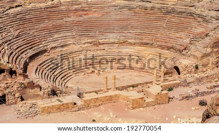 Ancient theater in Petra (Rose City), Jordan. Petra is one of the New Seven Wonders of the World. - stock photo