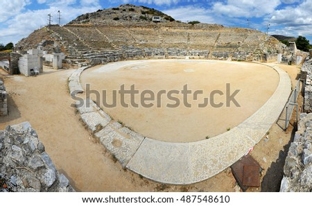 Ancient theatre at Filipi, 180 panorama,  Kavala, Greece