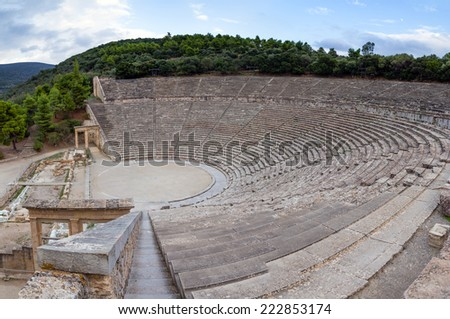 Ancient Theatre of Epidaurus, Peloponnese, Greece - stock photo