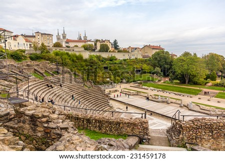 Ancient Theatre of Fourviere in Lyon, France - stock photo