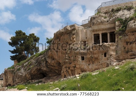 Ancient tomb of Benei Hezir near the tomb of Zechariah in Jerusalem - stock photo