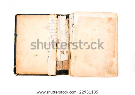 ancient torn book isolated on white background