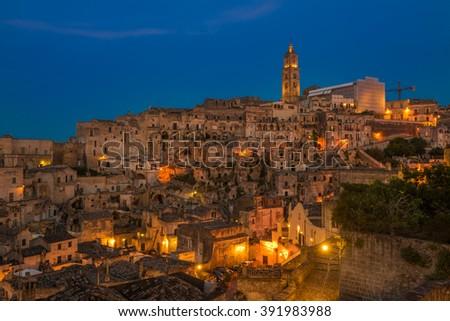 Ancient town of Matera (Sassi di Matera), Basilicata, Italy - stock photo