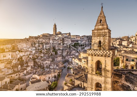 Ancient town of Matera (Sassi di Matera), European Capital of Culture 2019, in beautiful golden morning light, Basilicata, southern Italy - stock photo