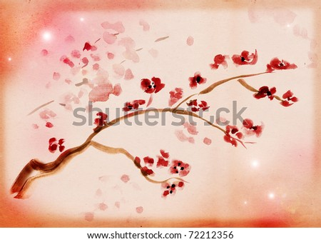 Ancient Traditional Artistic plum blossom on background a rice-paper - stock photo