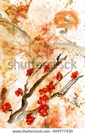 Ancient Traditional Artistic plum blossomm onTexture of marble - stock photo
