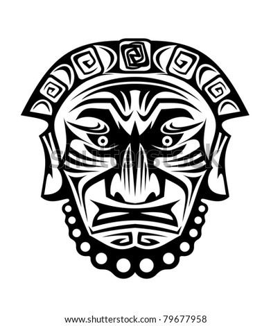 Ancient tribal religious mask isolated on white. Vector version also available in gallery