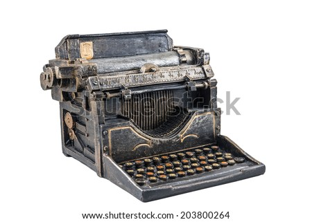 Ancient typewriter on the white background