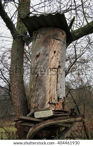 Ancient Ukrainian beehive hollowed from a tree trunk